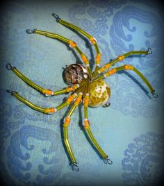 Yellow  Spider Ornament Sun catcher by AlaArt on Etsy, $13.00
