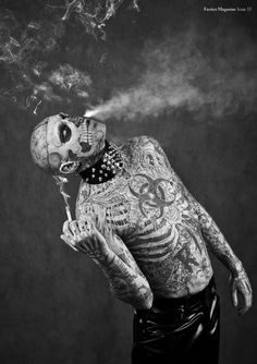 Rick Genest aka Zombie Boy was photographed by Stephane Roy for the cover of May/July 2012 of Factice magazine. Here are some of the photographs. Boy Tattoos, Life Tattoos, Tattoos For Guys, Sleeve Tattoos, Tatoos, Rick Genest, Insane Tattoos, Zombie Man, Smoking Celebrities