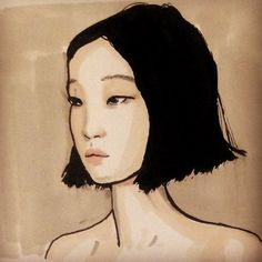 The stunning Xiao Wen Ju. #Portrait #drawing #imperfections #blackandwhite #penandink