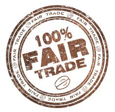 Round stamp with text 100% Fair Trade vector art illustration