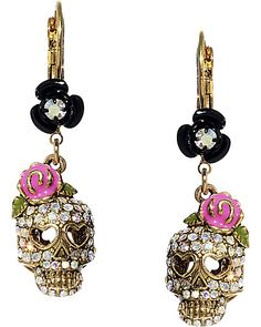 Need these, I have the matching ring! SKULL DROP EARRING PINK