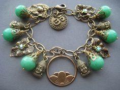 Buddha Charm Bracelet by SilverTrumpetJewelry Buddha Jewelry, Spiritual Jewelry, Yoga Jewelry, Jewelry Art, Bohemian Bracelets, Bohemian Jewelry, Handmade Bracelets, Beaded Bracelets, Silver Trumpet
