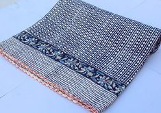 indian kantha quilt block print quilt baby, queen quilt by IndianKanthaQuilt