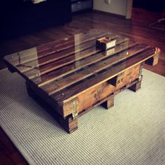 Old pallets upcycled as a coffee table