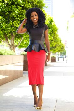 This red & black combo, is totally sophisticated, while the leopard shoes bring out the fun.