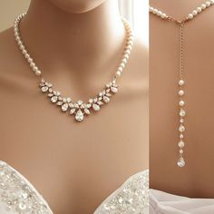 Rose Gold Backdrop Necklace, Bridal Back Necklace, Crystal and Pearl Wedding Necklace, Romantic Wedding Back Drop Necklace Bridal Jewelry by poetryjewelry on Etsy https://www.etsy.com/listing/236283127/rose-gold-backdrop-necklace-bridal-back