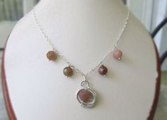 Dainty silver and natural stone unique necklace by HollyODesigns, $63.00