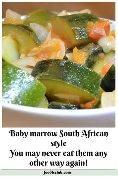 Baby marrows braised with tomato and onion. The perfect accompaniment to a roast. Vegetable Quiche, Vegetable Recipes, Vegetarian Recipes, Cooking Recipes, How To Cook Marrow, Quiche Recipes, Salad Recipes, Vegetable Marrow