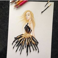 Armenian fashion illustrator Edgar Artis uses stylized paper cut outs and everyday objects to create beautiful dresses. His creative fashion sketches include such items as rose petals, various plants and food, even buildings. Arte Fashion, Paper Fashion, High Fashion, Fashion Collage, Lolita Fashion, Unique Fashion, Trendy Fashion, Fashion Design Drawings, Fashion Sketches