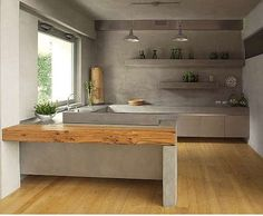 Bella cocina de concreto con detalles en madera y metal Concrete Kitchen, Kitchen Flooring, Kitchen Dining, Kitchen Decor, Kitchen Walls, Kitchen Interior, Home Interior Design, Küchen Design, House Design