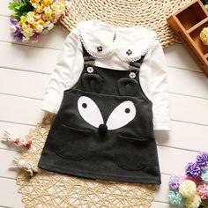 9 New Arrival 2017 Girls Cartoon Straps Fox Cotton Dress+t-shirt 2pcs Children's Clothing Outwear Baby Fashion Kid's Clothing Sets
