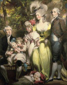 Portrait de Sir John Taylor de Lysson Hall, avec son épouse Elizabeth Gooden, son frère Simon Taylor, et quatre de leurs six enfants: Sir Simon Richard Brissett, 2e et dernier Baronet; Anna Susanna; Elizabeth et Maria, 1785 Daniel Gardner