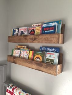 Floating bookshelves will make a great addition to any nursery. Seeing the covers of books makes them more appealing to children, helping you raise a reader.