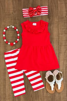 Red and White Stripe Capri Set Little Girl Outfits, Kids Outfits Girls, Cute Outfits For Kids, Little Girl Fashion, Toddler Fashion, Toddler Outfits, Kids Fashion, Girls Dresses, Cute Baby Clothes