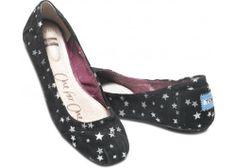 Black Suede Stars Ballet Flat | TOMS.com