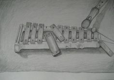 Flute on a xylophone with pencil drawing. Full of tunes, less of colours.