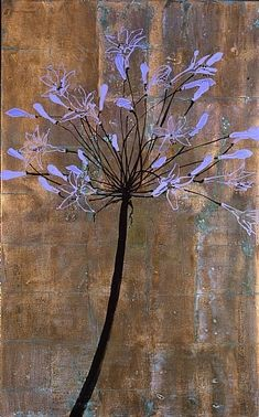 agapanthus ii ~ oil, gold leaf and glitter on canvas ~ by robert kushner