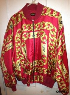 1980's vintage Chanel chain detail bomber jacket