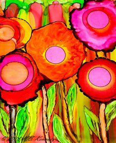 Mod Poppies on Yupo using alcohol inks.