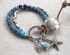 Denim Beach - Silver & Denim Blue Coastal Charm Bracelet with Sand Dollar& Agate by SeaSide Strands