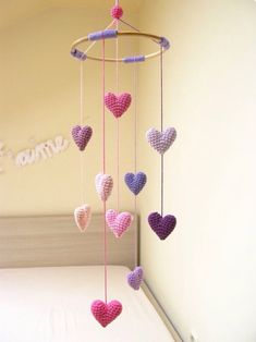 Heart Baby Mobile, Nursery Mobile, Crib Heart Mobile, Baby Shower Gift for Girls… – Baby Shower Ideas for Girls – Grandcrafter – DIY Christmas Ideas ♥ Homes Decoration Ideas Crochet Baby Mobiles, Crochet Mobile, Crochet Toys, Crochet Gifts, Baby Mobiles Diy, Diy For Girls, Gifts For Girls, Kids Girls, Kids Patterns