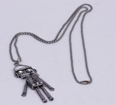 60cm Sweater Chain Necklace Jewelry Robot Shape Silver