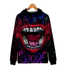 Unisex Hooded Suicide Squad Harley Quinn Joke Printed Realistic Pullover Athletic Hip-hop Sweatshirt with Big Pocket Joker Costume, Funny Design, Harley Quinn, Daily Wear, Hoods, Hip Hop, Athletic, Costumes, Pullover