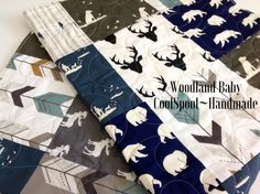 Baby Quilt Boy Quilt Dogs Woodland Ducks Bear Moose by CoolSpool