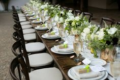 Here's a gem we love from a winery wedding. The soft color palette with this table top and the Espresso Bistro chairs is so elegant! Beautiful photo from Jennifer Bagwell Photography, Design by Vineyard Events, florals by Wine Country Flowers, Rentals by Encore Events Rentals.