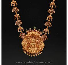 Gold Haram with Lakshmi Dollar, Gold Haram with Lakshmi Pendant, Gold Antique Temple Jewellery Harams.