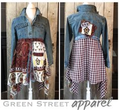 Funky Denim Coat | Refashioned Jean Jacket | Lagenlook Denim Coat| Boho Denim Coat | Artsy Jean Jacket | Upcycled Clothing | Hippie Coat by GreenStreetApparel on Etsy https://www.etsy.com/listing/537076452/funky-denim-coat-refashioned-jean-jacket