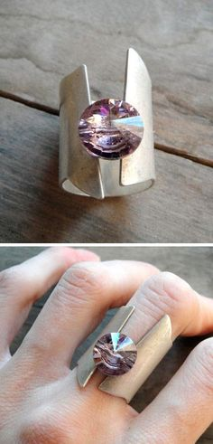 Lavender Swarovski Ring Holy poop! If this was green I would 100% have it as a wedding ring!!!!! ...Erica take note!