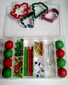 Supplies for Christmas play dough.