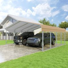 New Classic 18 Ft. x 20 Ft. Canopy by Versatube Building Systems Patio Garden Furniture. offers on top store Carport Patio, Carport Canopy, Patio Roof, Carport Garage, All Steel Carports, Rv Carports, Metal Carports, Painting Galvanized Steel, Storage Shed Kits