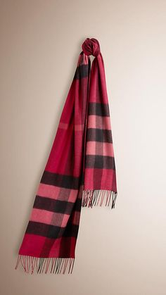Plum Giant Exploded Check Cashmere Scarf - Image 1