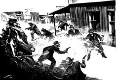 The Ball Begins: BBB's black-and-white illustration of the street fight captures the intensity of the deadly confrontation as the shooting started. And, yes, that is Ike Clanton beating cheeks, top center.