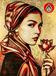 """Shepard Fairey: """"The woman in the Natural Springs art piece represents an idealistic younger person exhibiting righteous frustration over the environmental destruction perpetuated by fossil fuels. The title Natural Springs is a humorous play on the names of organizations like Americans for Prosperity that have pleasant-sounding names but cause harm to most and only benefit the elite. The propaganda campaigns by fossil fuel corporations to downplay their degradation of the environment""""…"""