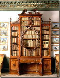 """This is the """"Violin"""" bookcase made by Thomas Chippendale for the Earl of Pembroke in Wilton House, Wiltshire. Home Library Design, Dream Library, House Design, Victorian Furniture, Antique Furniture, Antique Interior, Antique Chairs, Pallet Furniture, Furniture Ideas"""
