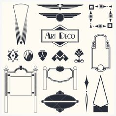 Art Deco Signs and Ornaments Brushes - Free Photoshop Brushes at Brusheezy! Journal Inspiration, Inspiration Art, Motif Art Deco, Art Deco Design, Art Nouveau, Art Deco Logo, Free Vector Art, Art Deco Fashion, Photo Art