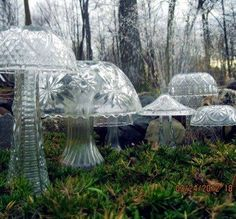 Crystal bowls and vases as ... mushrooms... fairy houses?  When I was a child I was convinced that fairies lived in the patch of forest behind my house.  And this looks just about perfect as a fairy village.