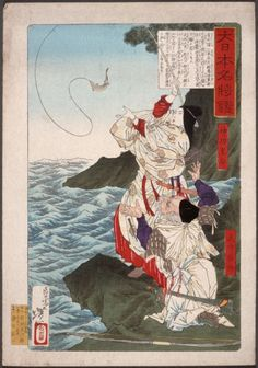 Tsukioka Yoshitoshi (Japan, 1839-1892), Empress Jingū and Takenouchi no Sukune Fishing at Chikuzen, circa 1876, Los Angeles County Museum of Art, Herbert R. Cole Collection (M.84.31.260),