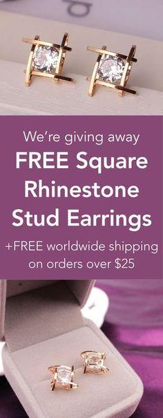 Free Square Rhinestone Stud Earrings