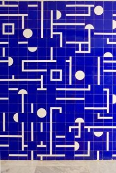 Inspired by Oscar Neimeyer - tiles - pattern - geometric - wall - mural - blue - white - shapes http://darkroomlondon.com/