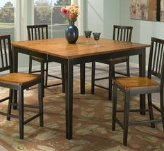 """Arlington Square/Rectangular Counter Height Leg Table - Black by Intercon - Black & Java (AR-TA-5454G-BLJ-C) by Intercon. $419.00. (1) 18"""" Self-storing Butterfly leaf. Comfortably seats up to 8 with leaf inserted.. The Arlington collection offers functional sets in unique, two-toned black and java or white and java finishes. Versatile dining and gathering sets are available for dining rooms or kitchens of all sizes. A matching server with plenty of storage space helps cr..."""