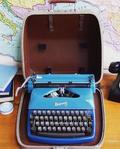 1959 restored & working two tone blue Rheinmetall Typewriter Vintage Typewriters, Restoration, Old Things, Blue