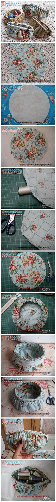 Shabby chic from vintage Laura Ashley pri. Shabby chic from vintage Laura Ashley prints, bedding or dres… circle pouch. Shabby chic from vintage Laura Ashley prints, bedding or dresses. Sewing Tutorials, Sewing Hacks, Sewing Patterns, Fabric Crafts, Sewing Crafts, Sewing Projects, Ideas Paso A Paso, Diy Sac, Fabric Bags