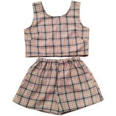 Beige Tartan Plaid Top and Shorts Two Piece Co-Ord Check Womens... (€49) ❤ liked on Polyvore featuring shorts, tops, dresses, two piece, silver, women's clothing, summer high waisted shorts, stretch waist shorts, silver shorts and high-waisted shorts