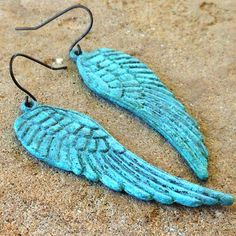 FUN fund  verdigris patina wing earrings by lluviadesigns on Etsy