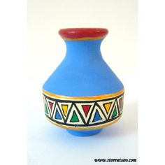 Terracotta Vase Red Rajasthani with Tribal Warli Painting by Store Utsav (www.storeutsav.com)