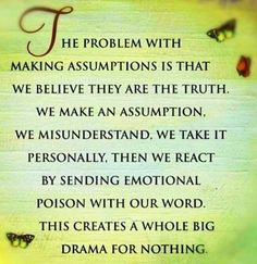 HE PROBLEM WITH MAKING ASSUMPTIONS IS THAT WE BELIEVE THEY ARE THE TRUTH. WE MAKE AN ASSUMPTION, WE MISUNDERSTAND, WE TAKE IT PERSONALLY, THEN WE REACT BY SENDING EMOTIONAL POISON WITH OUR WORD. THIS CREATES A WHOLE BIG DRAMA FOR NOTHING.